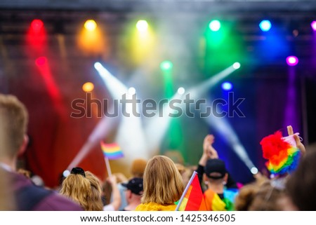 Music Event on PRIDE Festival with colourful flags and spotlights, LGBT Stockfoto ©