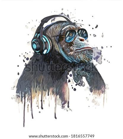 Music fan hipster monkey in headphone. Watercolor chimp listening a music illustration.T shirt graphics.Animal DJ chimpanzee. Сток-фото ©