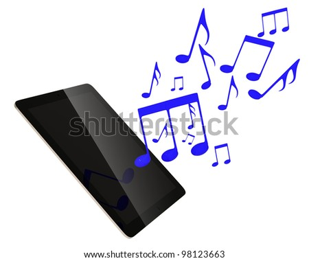 music from tablet - stock photo