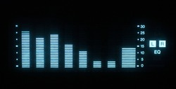 music graphic equalisers and audio analysis clip. shot from the display of a stereo hifi system