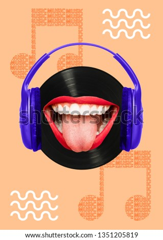 Music - how it tastes. Melomans head as a black vinyl record with brightning smile, red lips and purple headphones. Modern design. Contemporary art collage. Modern design. Contemporary art collage.