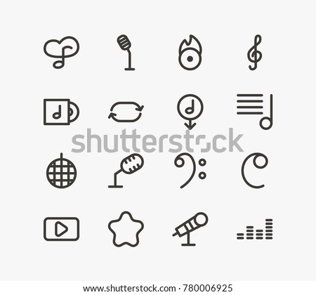 Music icon line set with playlist, treble sign and stabilizer. Set of crotchets related music icon line  items for web mobile logo design.