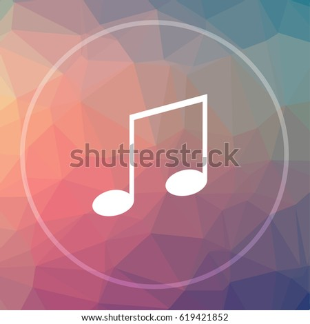 Music icon. Music website button on low poly background.
