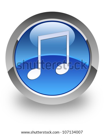 Music icon on glossy blue round button