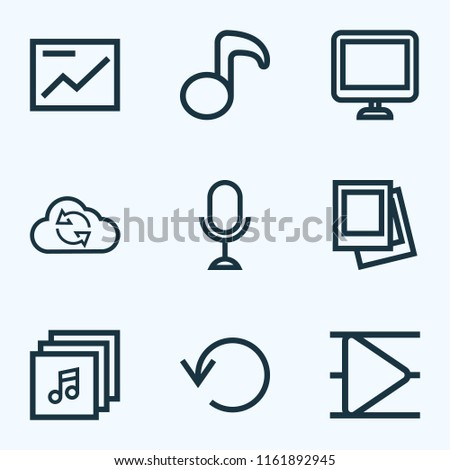 Music icons line style set with musical note, replay, playlist and other quaver elements. Isolated  illustration music icons.