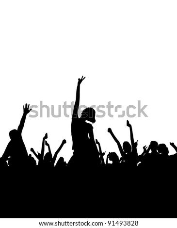 Music illustration with dancing crowd