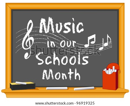 Music in Our Schools Month. March celebrates music in education, since 1985. Chalk text on wood frame blackboard, treble clef, notes, staff, box of chalk, eraser.