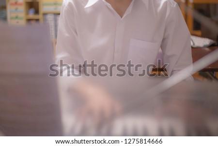 Music in the studio, hand piano, keyboard #1275814666