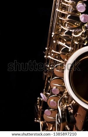 Music Instrument Alto Saxophone on black, Saxophone, brass Saxophone, Gold Saxophone, Sax brass Sax, Gold Sax. Music instrument copy Space, Music instrument mock up. Sax mock up, Music background