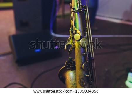 Music Instrument Alto Saxophone on black, Saxophone, brass Saxophone, Gold Saxophone, Saxbrass Sax, Gold Sax. Music instrument copy Space, Music instrument mock up.Sax mock up, Music background.