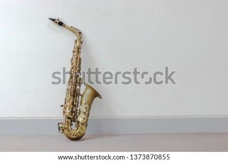 Music Instrument Alto Saxophone on White, Saxophone, brass Saxophone, Gold Saxophone, Sax brass Sax, Gold Sax. Music instrument copy Space, Music instrument mock up. Sax mock up, Music background