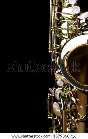 Music Instrument Alto Saxophone, Saxophone Player, brass Saxophone, Gold Saxophone, Sax brass Sax, Gold Sax. Music instrument copy Space, Music instrument mock up. Sax mock up, Music background