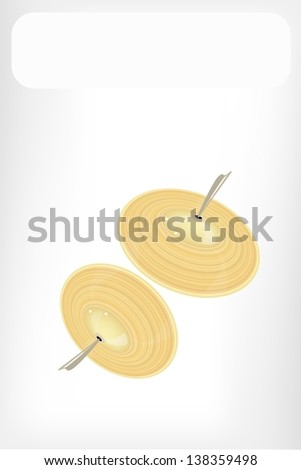 Music Instrument, An Illustration Retro Style of Cymbal or Finger Cymbals with White Label for Text Decorated