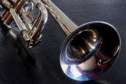Music Instrument Trumpet (Trumpet on black background, gold Trumpet, metal Trumpet, Close up Trumpeter)