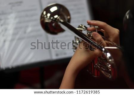 Music Instrument Trumpet (Trumpet on black background, gold Trumpet, metal Trumpet, Close up)