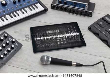 Music instruments and tablet with recording sound concept #1481307848