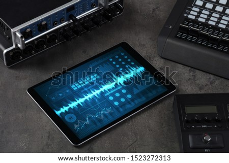 Music instruments and tablet with recording sound concept #1523272313
