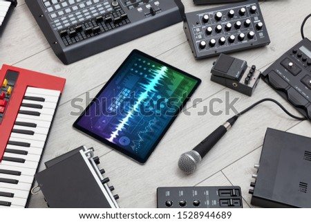 Music instruments and tablet with recording sound concept #1528944689