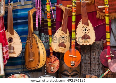 Music instruments on a market in Marrakech