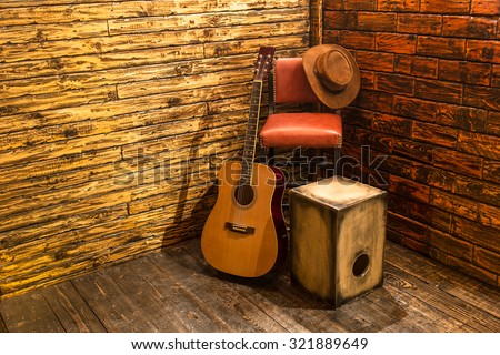 Music instruments on wooden stage