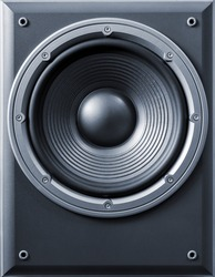 Music loudspeakers. Subwoofer. Front view.
