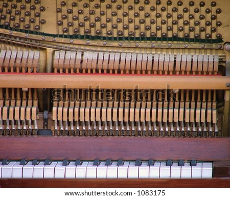 music macro. detail of a antique piano.