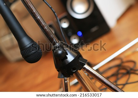 Music microphone wire on the background of the audio system