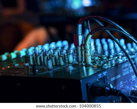 music mixer at nightclub connected wires stock photo music mixer at nightclub connected wires