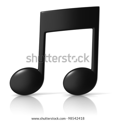 music note 3d icon on white background - stock photo