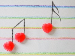 Music note heart shape from candy, Valentine, Wedding