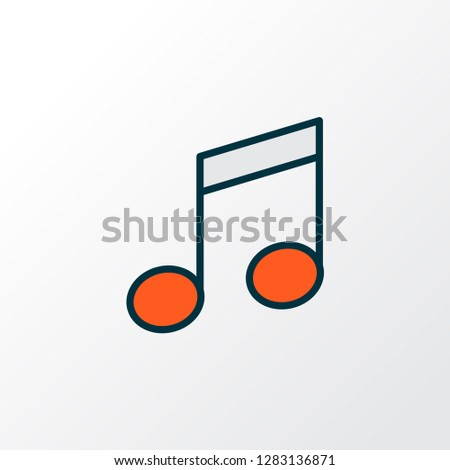 Music note icon colored line symbol. Premium quality isolated quaver element in trendy style.