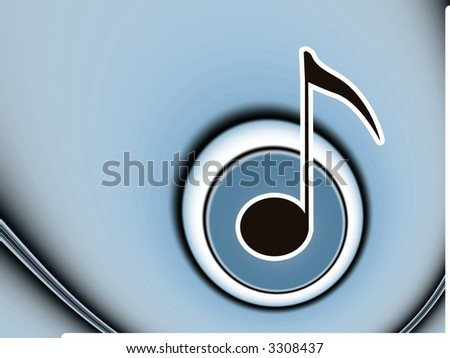 Music Note in Blue Circles  - High Resolution Illustration