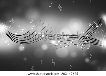 music notes and blurry lights on dark black and white background