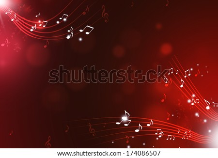 Music Notes And Blurry Lights On Dark Red Background