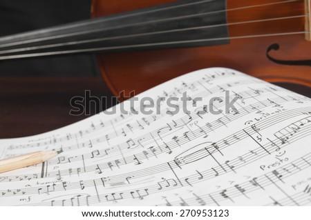 Music notes and violin close up