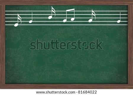 Music notes drawn on a chalkboard with copy space, Music School Days