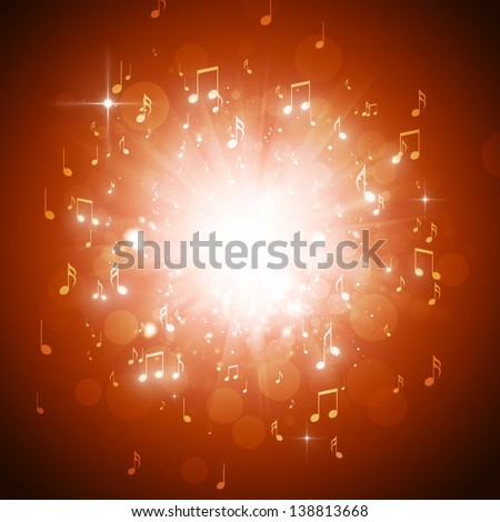music notes explosion in the dark with lights and bokeh background