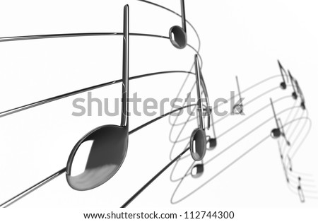 Music notes - Isolated on White Background