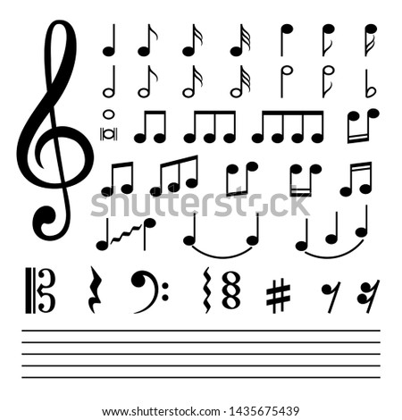 Music notes. musical note silhouettes, abstract music melody signs isolated on white background