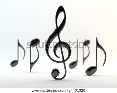 Music notes on a white background