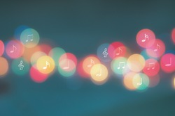 Music notes with bokeh background , life with music concept , Happy life with music