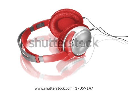 Music object. Headphones isolated on white