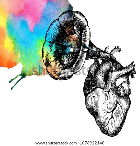 Music of the heart. Hand drawn raster symbolic illustration with a human heart and a gramophone tube.