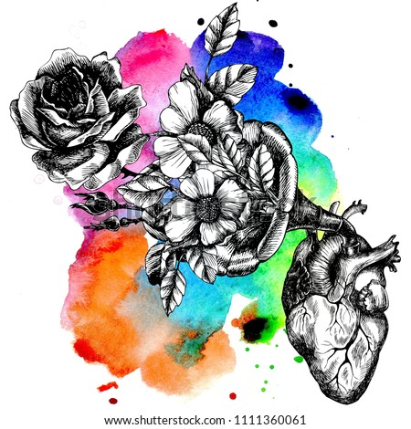 Music of the heart. Hand drawn raster symbolic illustration with a human heart and a gramophone tube with blooming roses.