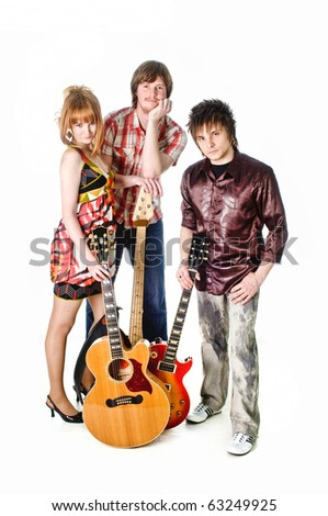 Music rock-band with guitars on isolated white background