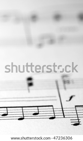 Music sheet with low depth of field