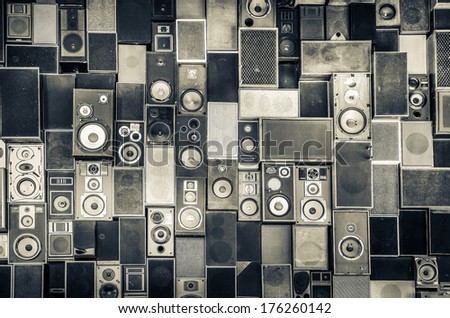 Stock Photo Music sound speakers hanging on the wall in monochrome vintage style