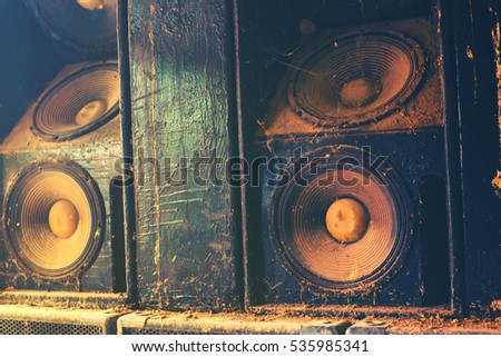 Music sound speakers hanging on the wall in monochrome vintage style