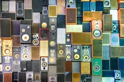 Music sound speakers hanging on the wall in retro vintage style