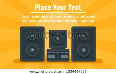 Music stereo system concept banner. Flat illustration of music stereo system concept banner for web design